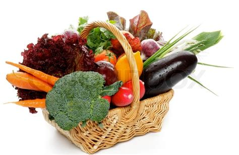 vegetarian baskets vegetable basket stock photo colourbox