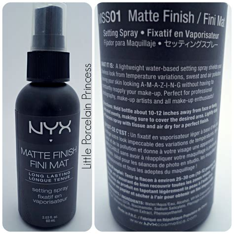 Nyx Finishing Spray porcelain princess review nyx matte finish