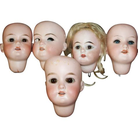 bisque doll heads antique 5 small antique bisque doll heads some damage sold on