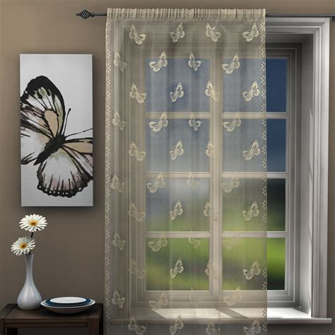 teal and silver curtains butterfly voile lace curtain panel net black white gray