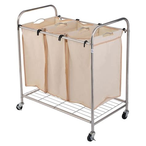 New 3 Bag Laundry Rolling Cart Basket Her Sorter Three Laundry