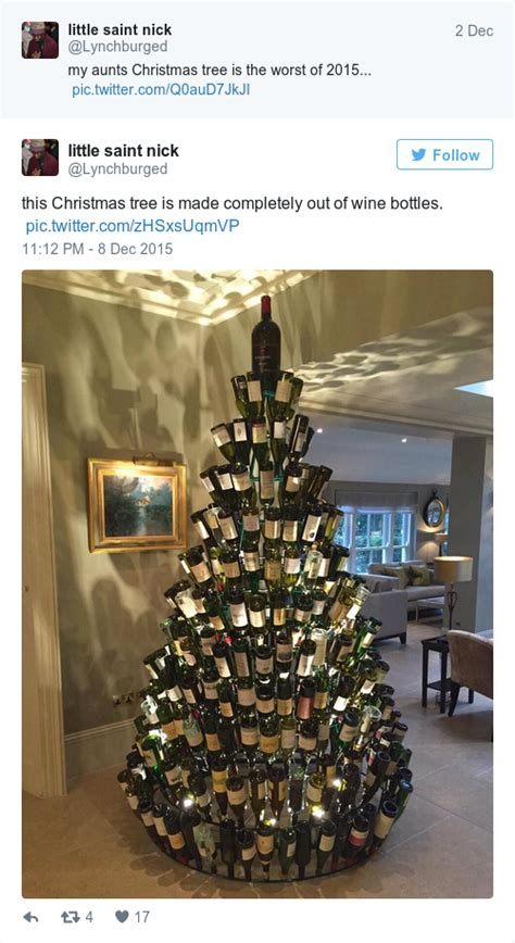 tree made of wine bottles pubs started putting up their own trees
