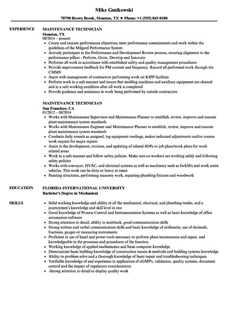 Building Maintenance Technician Resume Resume maintenance technician resume sles velvet