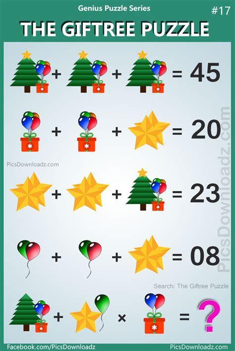 christmas tree stumper math 17 solution the giftree puzzle genius puzzle series 17 with answer pics story