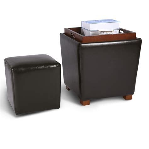 footrest ottoman 2pc nesting pu leather upholstered ottoman storage coffee