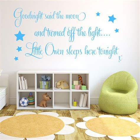 wall stickers baby boy personalised goodnight said the moon baby boys wall