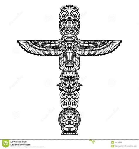 doodle totem illustration stock vector image 58414998