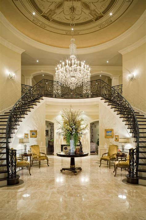 increíble  escaleras mansion #1: entrance-staircase-chandelier-decor-wrought-iron-staircase-mansion-luxurious.jpg