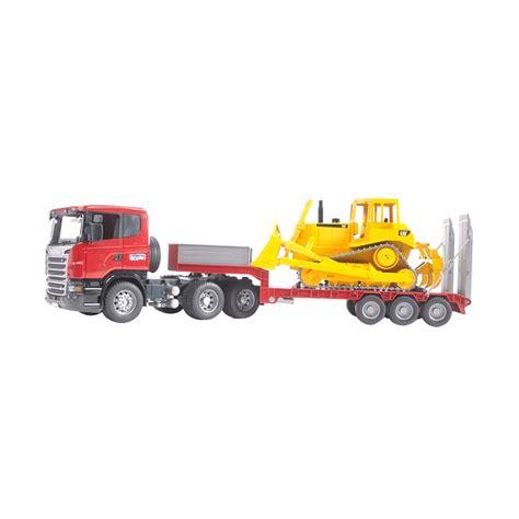 Mainan Anak Scania R Series Low Loader Truck With Cat Bulldozer jual bruder toys scania r series low loader truck and cat bulldozer mainan anak harga