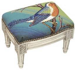Bluebird needlepoint on white washed wood small footstool traditional
