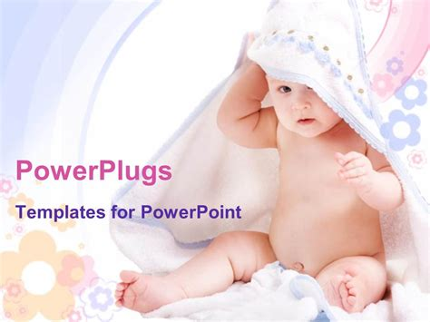 Powerpoint Template Beautiful Little Kid Playing With White Towel And Colorful Background 2550 Free Baby Powerpoint Templates