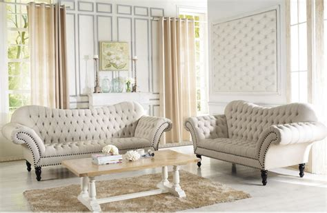 Beige Living Room Sets Baxton Studio Bostwick Beige Linen Classic Sofa Set Contemporary Living Room