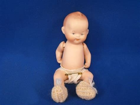 jointed doll yellowing 1990 painted signed repro bye lo baby jointed bisque doll