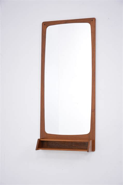 mid century mirror mid century danish mirror with petite shelf in teak