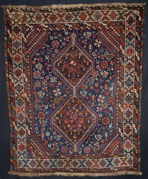 Small Square Rug by Antique South West Khamseh Rug Tribal Design