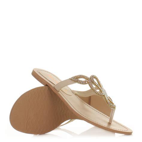 formal flat sandals flat sandals womens diamante toe post loop prom