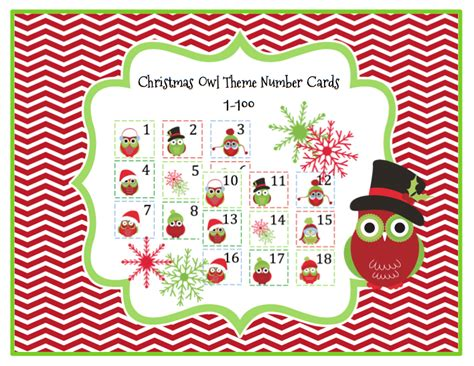 printable christmas number cards christmas owl theme number cards 1 100 preschool printables