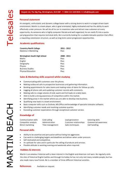 telesales cv template student entry level telesales resume template