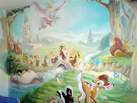 Girls Bedroom Themes disney mural on pinterest