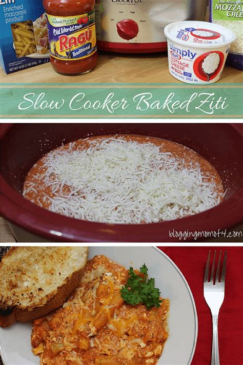 slow cooker baked ziti recipe cottage cheese crock pot