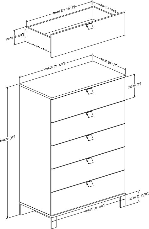 Drawer Dimensions by South Shore Spark 5 Drawer Chest 3270035