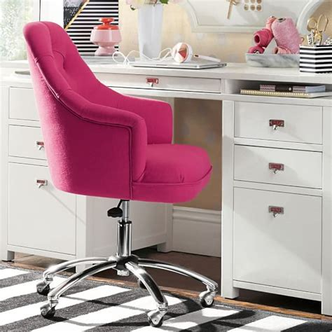 Desk Chairs With Wheels Design Ideas Twill Tufted Desk Chair Pbteen