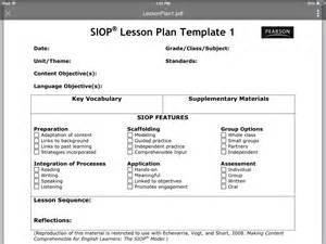 siop lesson plan templates siop lesson plan template 1 thinglink