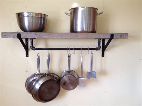 Pipe Pot Rack by Hanging Pot Shelf Kitchen Hanging Pots Shelves And Pots