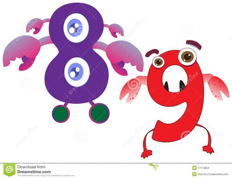 monster number 9 clipart collection