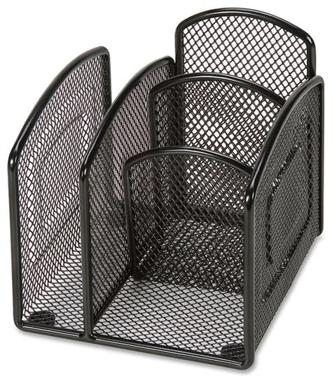 Lorell Mini Mesh Desktop Organizer Black Contemporary Mesh Desk Accessories