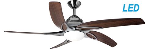 led ceiling fan with remote fantasia viper 44 stainless steel with oak blades