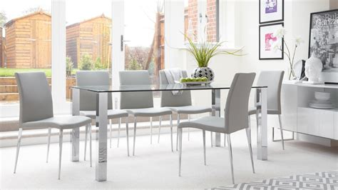 Modern 8 Seater Glass Dining Set Faux Leather Dining Chair Glass Dining Table Set 6 Chairs