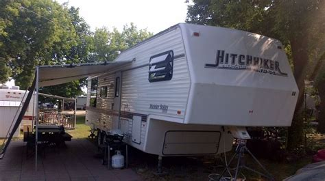 5th wheel awnings our quot hitchhiker quot 5th wheel trailer nice patio awning sunscreen motorhomes 5th