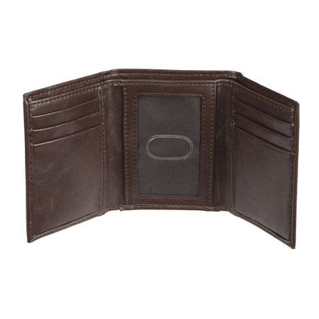 genuine dickies s trifold brown leather wallet
