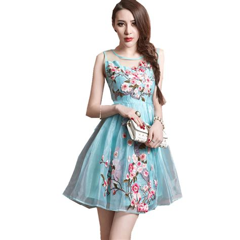 Dress Fashion Flower 4 summer dress 2016 designer s sleeveless dress flower embroidery fashion vintage lace slim