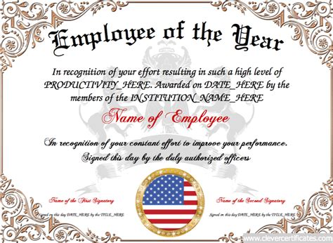 employee of the year certificate template employee of the year award certificate template employee