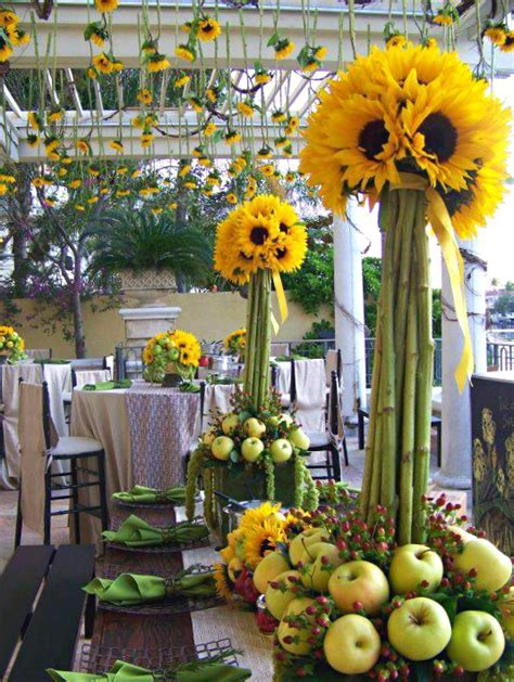Sunflower Arrangements For Weddings by Tablescape Sunflowers Table Decorations