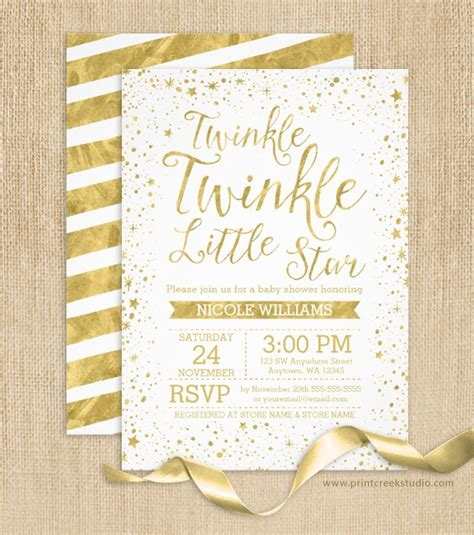 Twinkle Baby Shower Invitations by Gold Twinkle Twinkle Baby Shower Invitations Print Creek Studio Inc