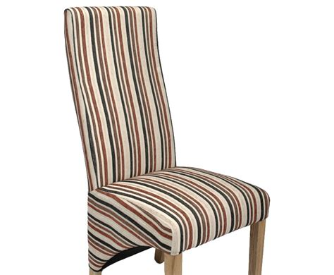 Striped Fabric Dining Chairs Tenterden Rustic Brown Striped Fabric Dining Chairs
