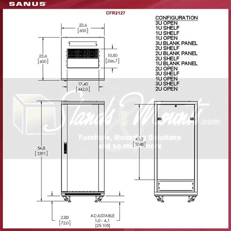 Rack Size by Sanus 55 Inch 27u Audio Rack Cfr2127