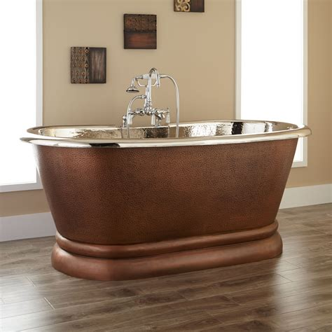 nickel bathtub kaela copper pedestal tub nickel interior copper tubs