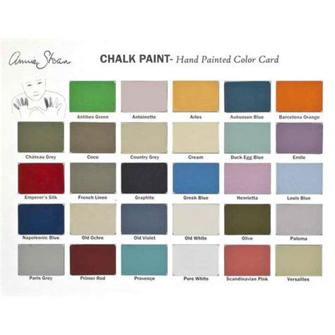 paint colors card chalk paint color card