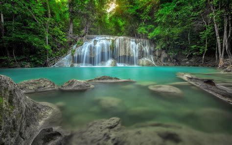 erawan waterfall  thailand jungle rain forest rocks  water natural pool ponds desktop