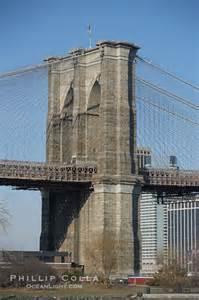 Brooklyn bridge viewed from brooklyn lower manhattan visible behind