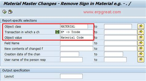 query layout design sap material master changes list using sap query