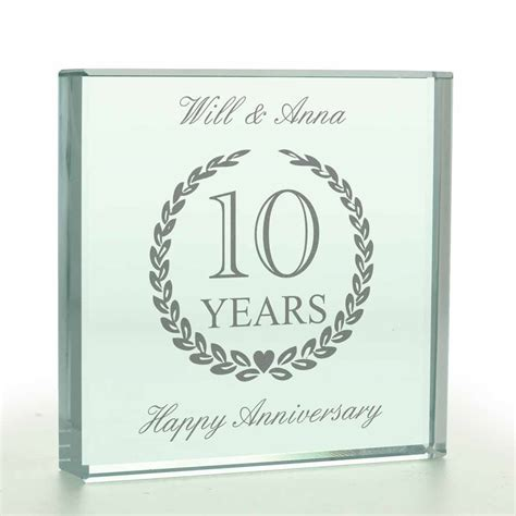 Personalised Wedding Anniversary Glass Token   Any Year