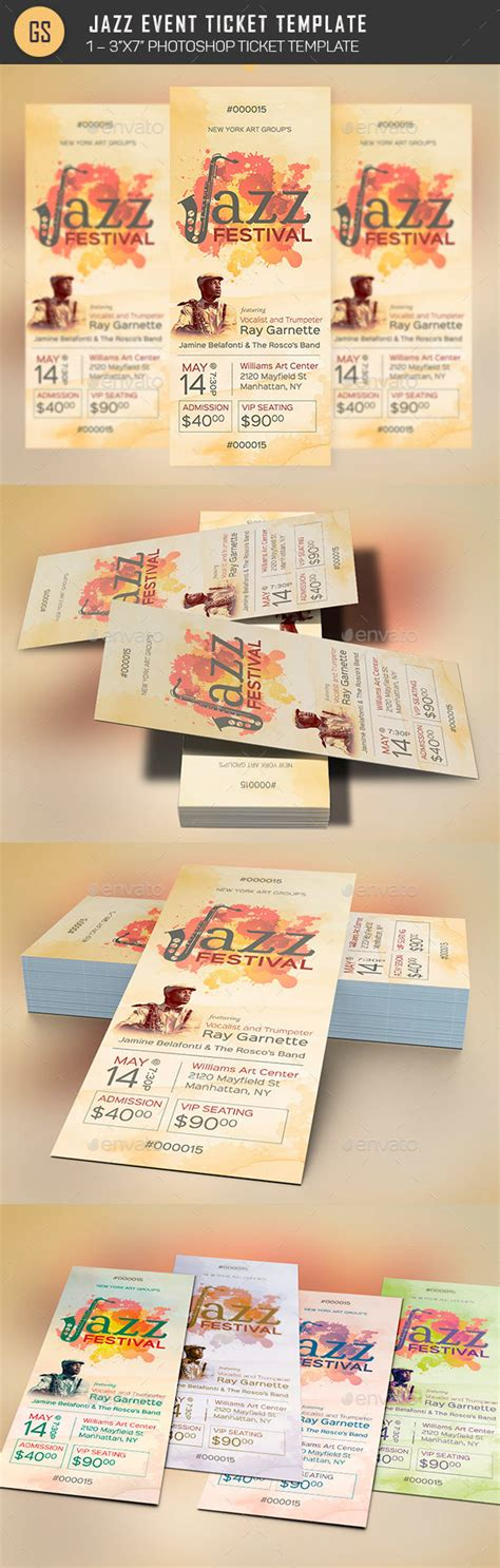 Jazz Event Ticket Template By Godserv2 Graphicriver Event Ticket Printing Template