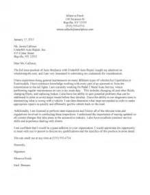 Helicopter Mechanic Cover Letter by Auto Mechanic Cover Letter Sle
