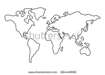 simple world map outline stock vector 684449866