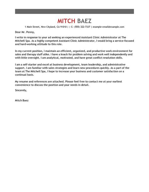 Spa Assistant Cover Letter by Best Assistant Clinic Administrator Cover Letter Exles Livecareer